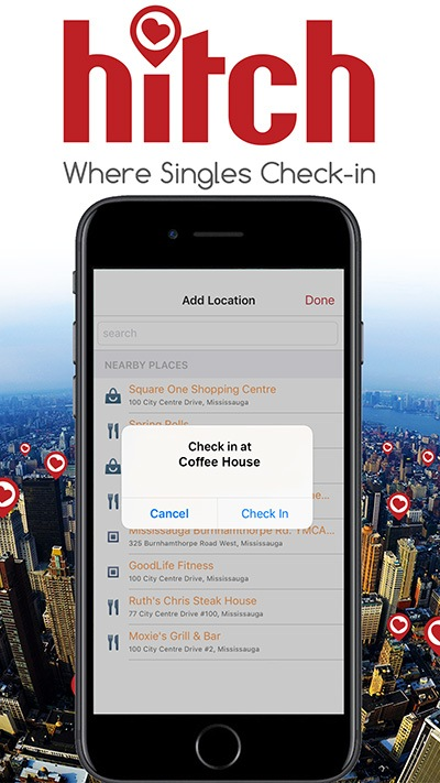 Singles check-in on Hitch Dating App